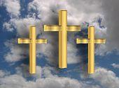 3D Golden Crosses In The Sky poster