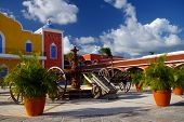 stock photo of hacienda  - Reconstruction of a Spanish colonial hacienda near Playa del Carmen - JPG