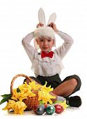 cute little boy in a rabbit costume on white