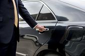 Businessman Handle Limousine Door Car poster