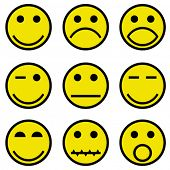 pic of sad faces  - smilies and faces - JPG