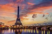 The Eiffel tower at sunrise in Paris France poster