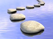 image of stepping stones  - Abstract stone path on water - JPG