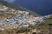 stock photo of sherpa  - the nice sherpa village Namche Bazar in Nepla  - JPG