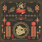Chinese New Year Greeting Card Design: Translation of Calligraphy main: Happy new year, Blessing and poster