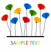 Multicolored Poppy flowers. Design for greeting card