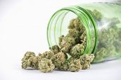 Detail of cannabis buds (ob reaper strain) on green glass jar isolated on white - medical marijuana  poster
