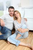 foto of love couple  - Closeup of happy couple at home - JPG