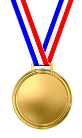 stock photo of gold medal  - Blank gold medal with tricolor ribbon  - JPG