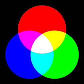 foto of color wheel  - Color spectrum wheel with three different colors on a black background - JPG
