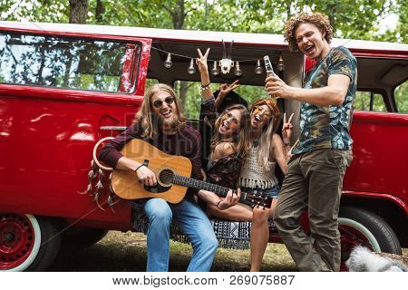 Group of hippies happy men