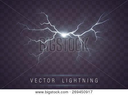 Lightning Flash Bolt  Lightning Magic And Bright Light Effects  Vector  Realistic Lightning Rain Wea poster
