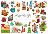 A Festive Set Of Elements For The New Year And Christmas. A Set Of Winter Decorations, Warm Drinks,  poster
