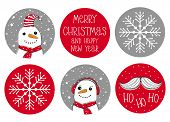 Set Of 6 Cute Round Shape Christmas Vector Stickers. Santa Claus Moustache, White Snowmans, Snow Fla poster