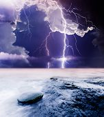 image of lightning bolt  - summer storm beginning with lightning - JPG