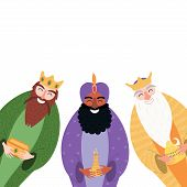 Hand Drawn Vector Illustration Of Three Kings Of Orient With Gifts. Isolated Objects On White Backgr poster