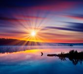 picture of field_stone  - Beautiful summer sunset in the lake - JPG