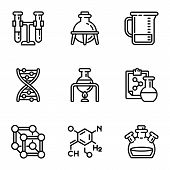 Chemical Laboratory Icon Set. Outline Set Of 9 Chemical Laboratory Vector Icons For Web Design Isola poster