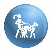 Blind Girl Dog Guide Icon. Simple Illustration Of Blind Girl Dog Guide Vector Icon For Web Design Is poster