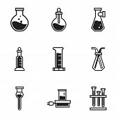 Glass Chemical Flask Icon Set. Simple Set Of 9 Glass Chemical Flask Vector Icons For Web Design Isol poster