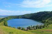 Awesome Bright Landscape Blue Deep Lake Tectonic Origin In Idyllic Countryside Republic Of Khakassia poster