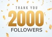 Thank You 2000 Followers Design Template Social Network Number Anniversary. Social Users Golden Numb poster