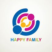 Happy Family Vector Logo Or Icon Created With Simple Geometric Shapes. Tender And Protective Relatio poster
