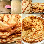 Collage Of Cooking Pancakes. Cooking Jam From Apples In Home Cooking. poster