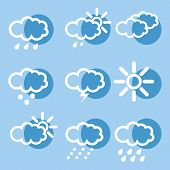 Meteorology Weather Icons With Modern Design On Blue Background poster