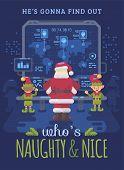 Santa Claus And His Elves At Santas Control Room Looking At A Big Screen With Interactive Map Of Na poster