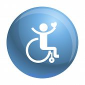 Adult Wheelchair Icon. Simple Illustration Of Adult Wheelchair Vector Icon For Web Design Isolated O poster