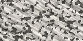 Black & White Army Camouflage Background. Military Uniform Clothing Texture. Seamless Combat Uniform poster