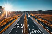 Driving On Open Road At Beautiful Sunny Day From 2018 To The New Year 2019 poster
