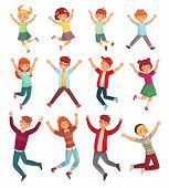 Jumping Kids. Excited Childrens Jump, Happy Jumped Teenagers And Smiling Child Jumps Cartoon Vector  poster
