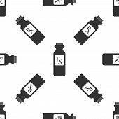 Pill Bottle With Rx Sign And Pills Icon Seamless Pattern On White Background. Pharmacy Design. Rx As poster