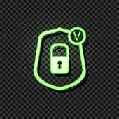 Vector Glowing Icon: Reliable Protection Concept, Lock Icon In Shield With Check Mark, Neon Green Si poster
