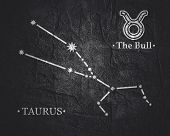 Astrology Sign The Bull. Constellation Design Concept poster