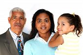 image of grandparent child  - Grandfather Daughter and young granddaughter together on white background - JPG
