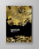 Flyers With Patterns In Gold And Black Halftone Texture. Polka Dots And Halftones. For Invitation, P poster