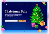 Website Christmas Sale. Website Providing The Service Of Christmas Sale. Concept Of Landing Page For poster