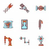 Robotic Tech Icons Set. Cartoon Set Of 9 Robotic Tech Icons For Web Isolated On White Background poster