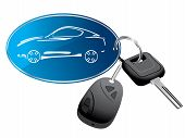 picture of locksmith  - Car key ring with remote vector illustration - JPG