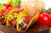 picture of mexican food  - Mexican burrito in tortilla shells with fresh tomatoes - JPG