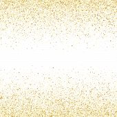 Gold Sparkles Glitter Dust Metallic Confetti Vector Background. Elegant Golden Sparkling Background. poster