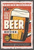 Beer House Retro Vector Poster, Full Glass Tankard Of Oktoberfest Brewery. Beer With Foam In Cup, Vi poster