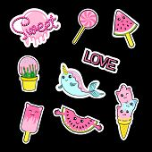 Fashion Patch Stickers Badges With Candies, Watermelon, Love, Cactus, Seal, Ice Cream, Kittens, Cats poster
