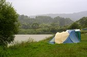 Camping place by rainy day