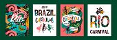 Brazil Carnival. Vector Templates With Trendy Abstract Elements. poster
