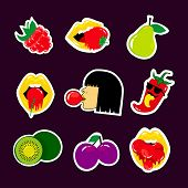 Fashion Patch Fruit Stickers Badges With Raspberry, Strawberry, Cherry, Kiwi, Gum, Girl, Pepper, Lip poster