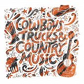 Country Music Festival Retro Poster Vector Template. Hand Drawn Grunge Lettering. Cowboy Fest Banner poster